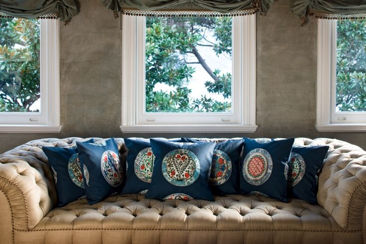 Exclusive Haremlique printed designs inspired by Iznik tiles. Limited edition cushions decorated with cord and tassel.