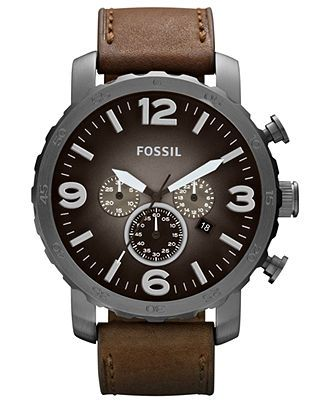 Fossil Watch, Men's Chronograph Nate Brown Leather Strap 50mm JR1424 - All Watches - Jewelry & Watches - Macy's