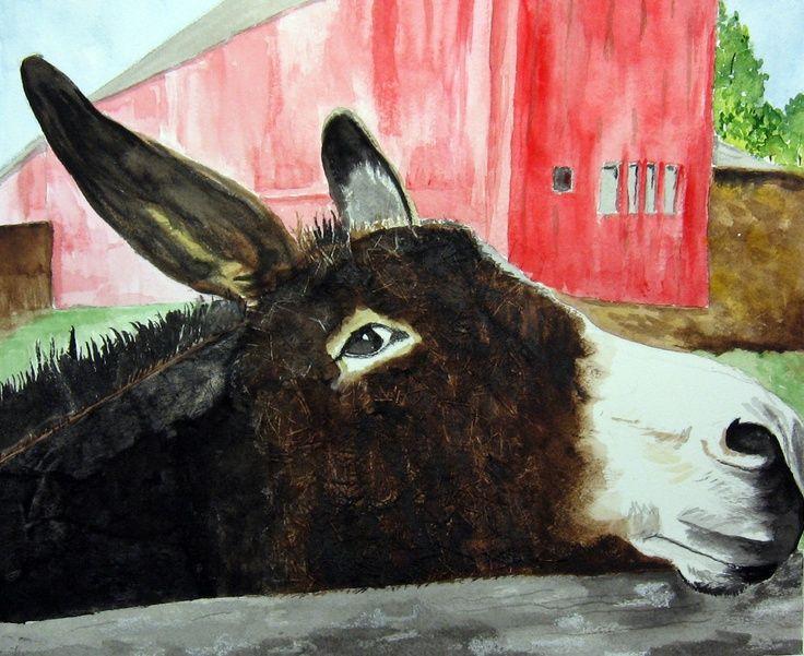 donkey painting | Watercolors | Leslie White | Donkey Art