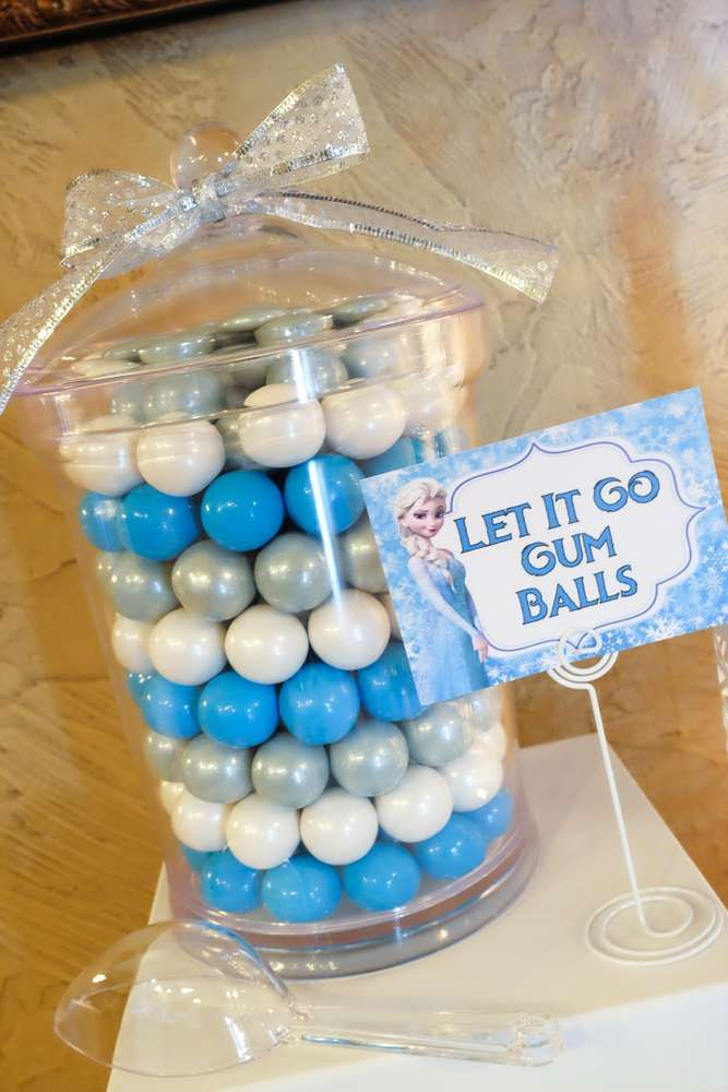 Let it go gumballs at a Frozen birthday party! See more party ideas at CatchMyParty.com!