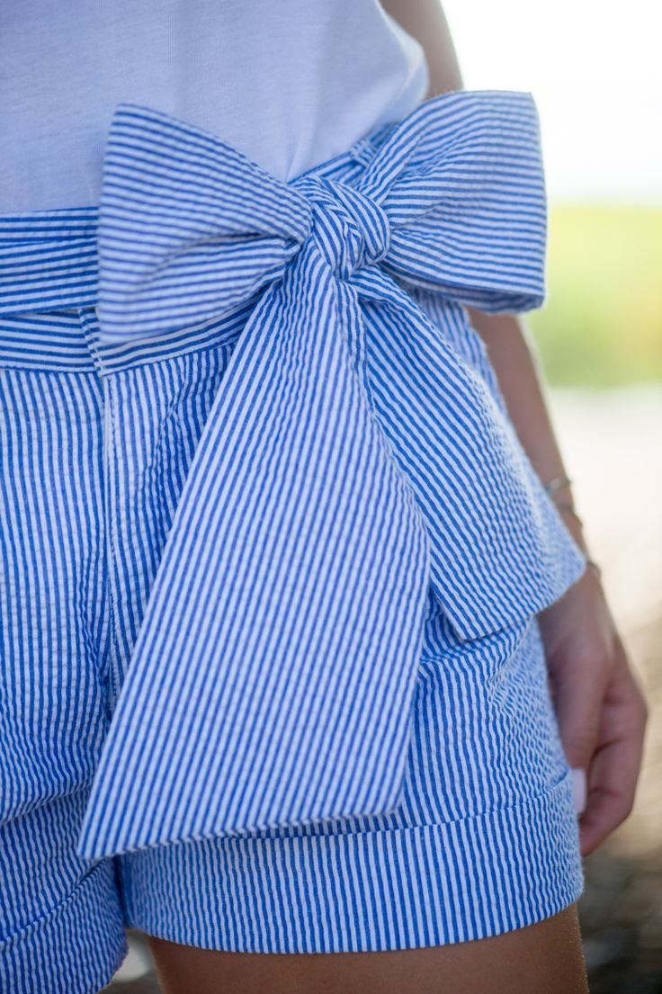 These seersucker bow shorts are perfect in every way! From the length to the…