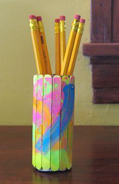 Craft Stick Pencil Holder around tube cardboard roll