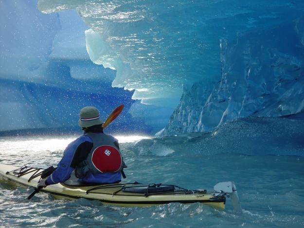 "This will be me on my next ""for fun"" adventure.  Patagonia - kayaking through its glacier filled seas."