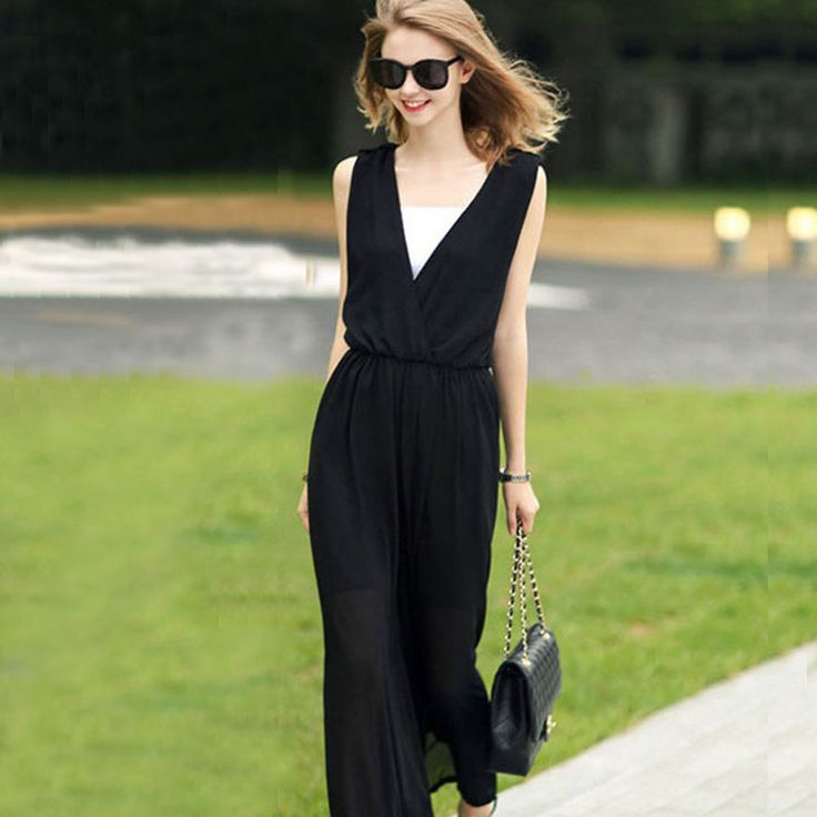 2017 Summer Elegant Womens Rompers Jumpsuit Casual Solid Bodysuit Sleeveless V-Neck Long Loose pants Playsuits -- AliExpress Affiliate's buyable pin. Detailed information can be found on www.aliexpress.com by clicking on the VISIT button