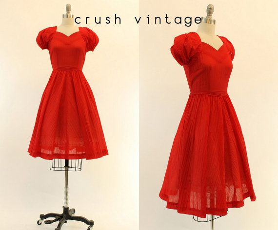 40s Sweetheart Dress XXS / 1940s Full Skirt Dress by CrushVintage, $124.00