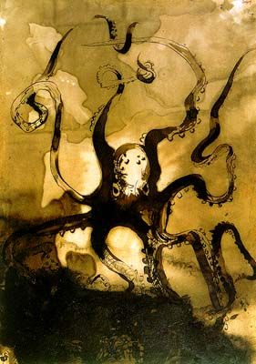 Octopus with the initials V.H., 1866 by Victor Hugo. Symbolism. animal painting
