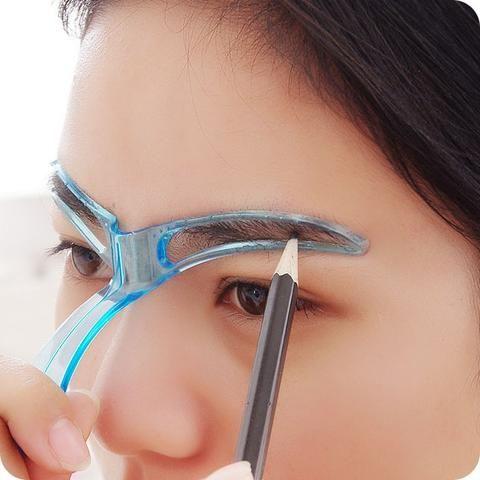 Eyebrow Stencils Shaping Grooming Eye Brow Make Up Template Reusable Design (Random Color))