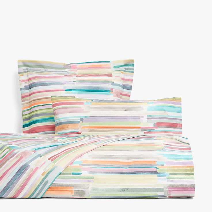 Image 1 of the product Multicoloured striped watercolour print duvet cover