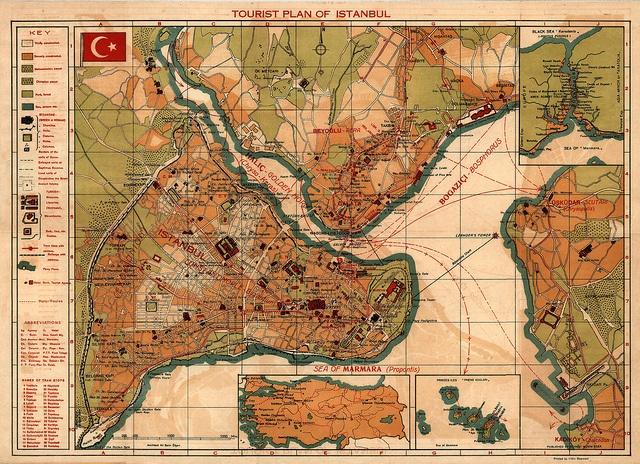 vintage tourist map of Istanbul #istanbul #turkey