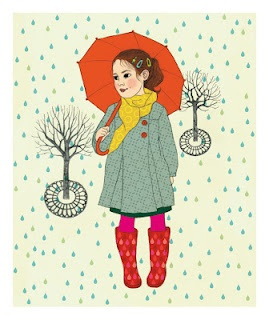 Rainy day poster. Love the colors and textiles.