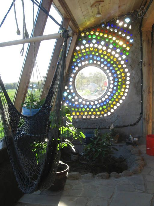 Bottle wall window in Solarium.
