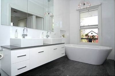 Vit. Charcoal Black 300x600 Polished Porcelain, White Rectified Gloss 300x600 walls. Tiles from Ceramica http://www.ceramicatile.com.au/page.php?section=112=5=