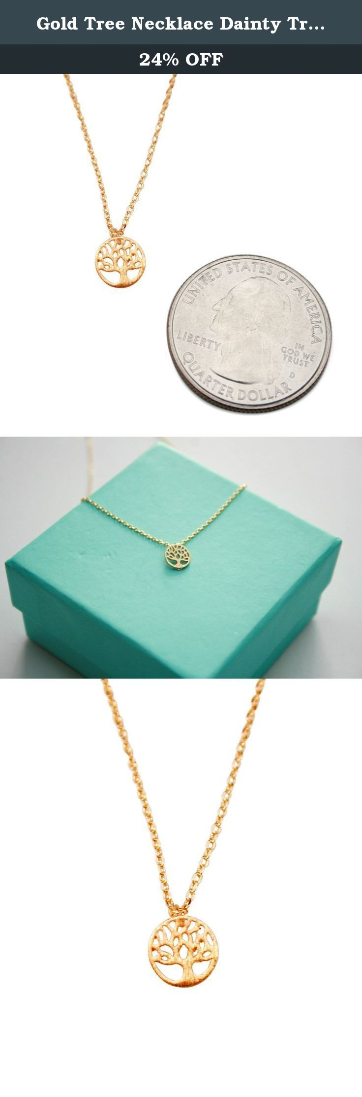 Gold Tree Necklace Dainty Tree of Life Pendant Family Tree Necklace Little Tree. The necklace has a gorgeous finish that creates an illusion of fine jewelry. The necklace will not tarnish or turn green like other fashion jewelry necklaces. Items ship quickly from the U.S!.
