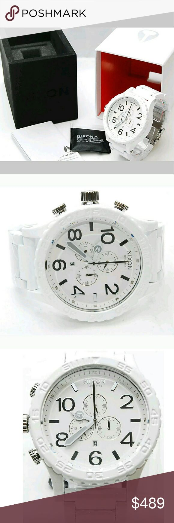 NWT NIXON Chrono PVD white mens 51-30 watch Brand NWT NIXON Chronograph 51-30 Chronograph Men's Watch.    Firm price firm price firm price firm price  $405.00 . AUTHENTIC WATCH  . AUTHENTIC BOX  . AUTHENTIC MANUAL    SHIPPING PLEASE ALLOW FEW BUSINESS DAYS FOR ME TO SHIPPED IT OFF.I HAVE TO GET IT FROM MY STORE.   THANK YOU FOR YOUR UNDERSTANDING nixon Accessories Watches