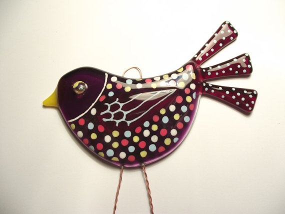 fused glass bird suncatcher