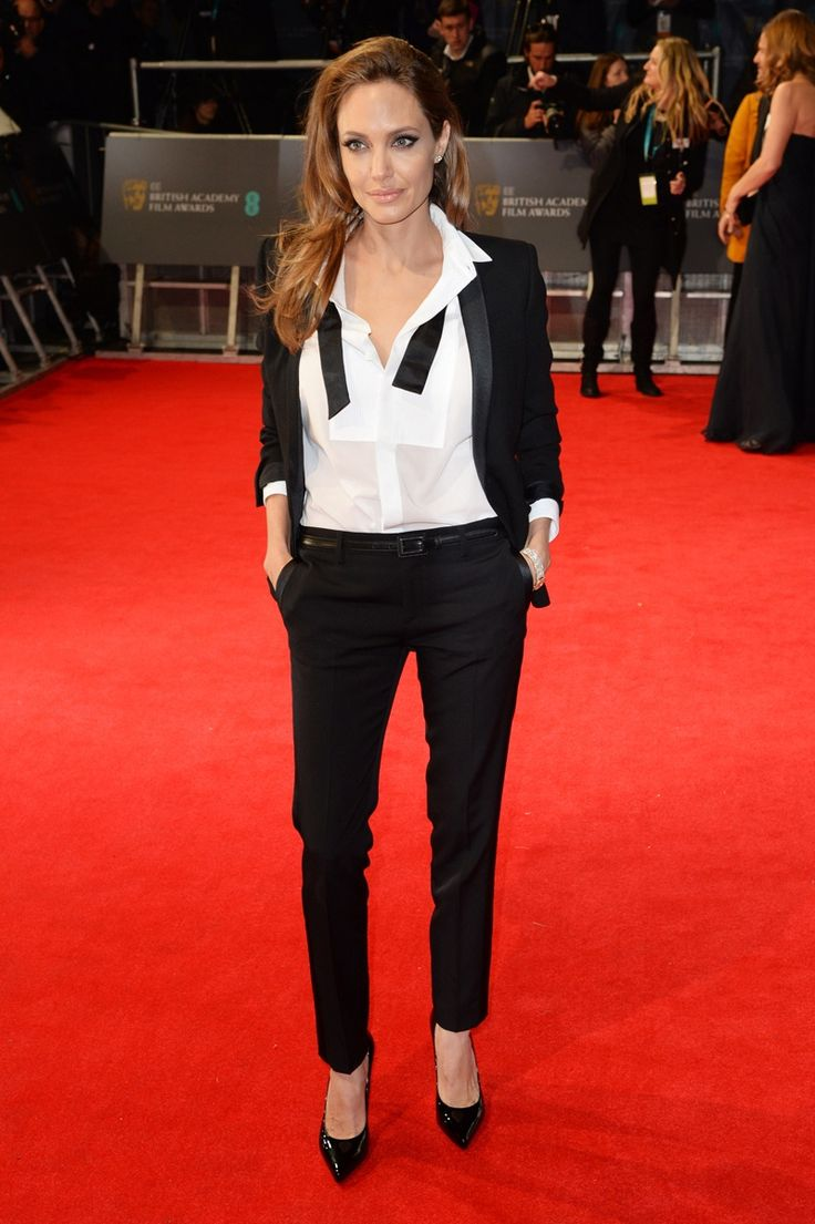 Flawless. Angelina in a YSL tuxedo at BAFTA.