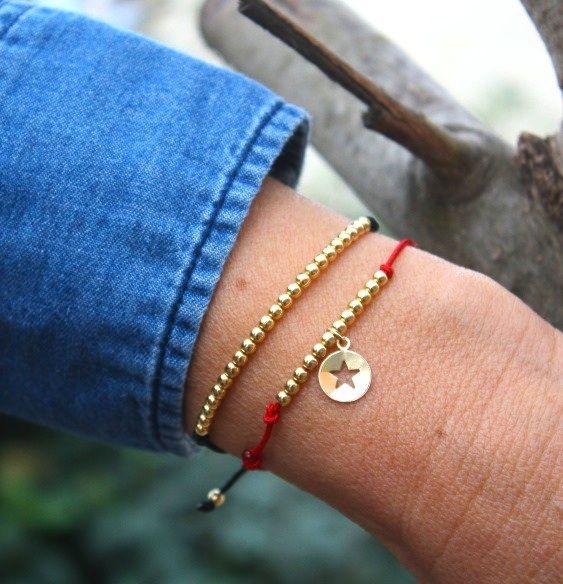 Bracelets cordons perles et breloque étoile plaquées or gold filled sur http://www.unbijouforyou.com/