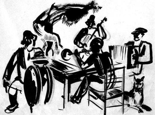 Romans Suta. Lauku muzikanti. 1928 – 1934. Papīrs, tuša