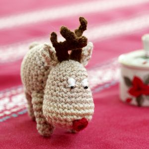 """Reindeer - Free Amigurumi Pattern - PDF Format - Click """"Click here to download PDF."""" in blue letters here: http://www.lovecrafts.co.uk/projects/amigurumi-style-crochet-reindeer/"""