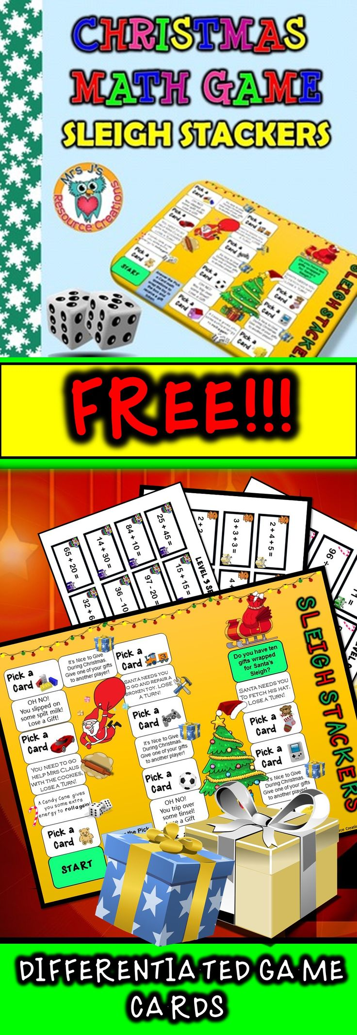 Worksheet Math Games Fourth Grade Free 1000 images about christmas math ideas on pinterest fact game free with differentiated card sets for you to tailor your grade