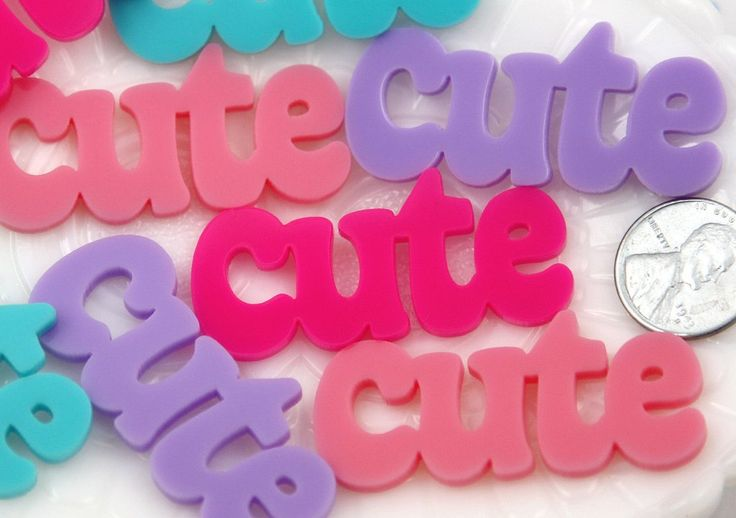 50mm Cute Pastel Word Letters Acrylic or Flatback Resin Cabochons - Great for Decoden - 4 pc set