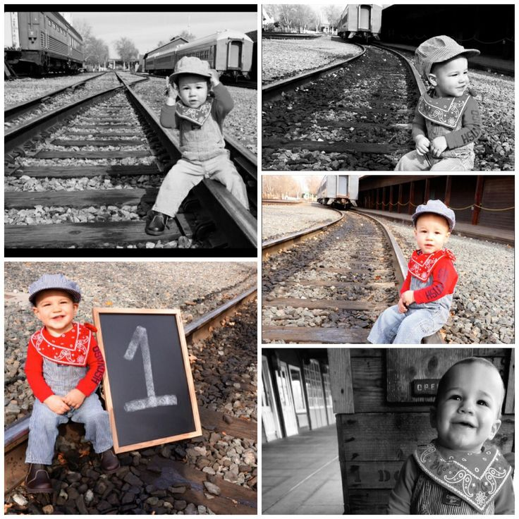 Train track photoshoot for baby's first birthday pictures :)