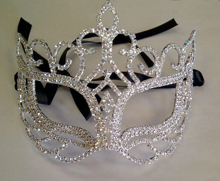 Rhinestone+Crystal+Masquerade+Mask+with+Silver+by+BingCheri,+$75.00
