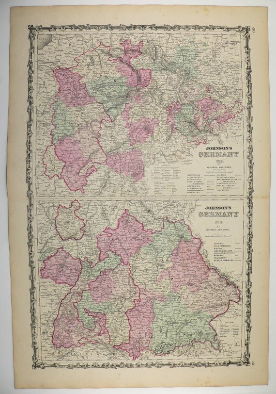 German Wedding Gift Ideas: Antique Map Of Germany 1863 Johnson Map, Unique Wedding