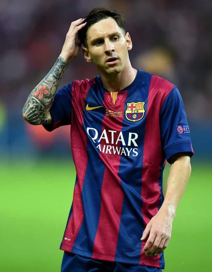 Lionel Messi of Barcelona looks on during the UEFA Champions League Final between Juventus and FC Barcelona at Olympiastadion on June 6, 2015 in Berlin, Germany.