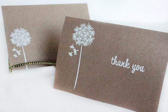 Rustic Thank You Cards, Kraft Thank You Card Set, Wishes Thank You Card, Wedding Thank You Cards- set of 5 on Etsy, $6.99
