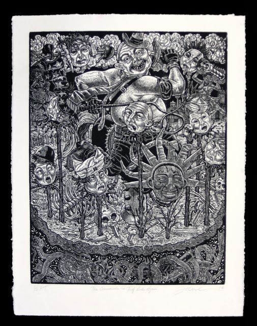 Tom Huck, The Commander in Thief Rides Again, 2009, Linocut, 18 x 24 inches. #10 of 20.  Purchased from Evil Prints