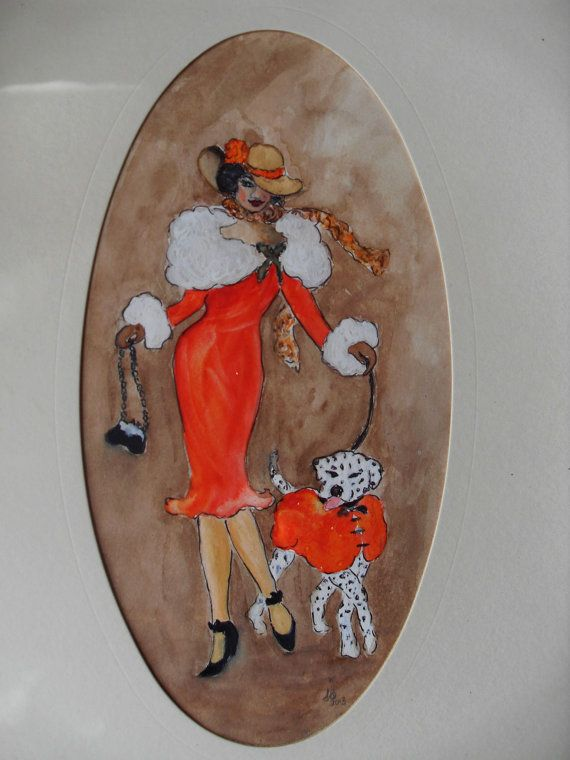 Painting Acrylic Women Walking Her Spotty Dog Vintage 1920s Fashion Red Orange Coat White Fur Collar Home Decor