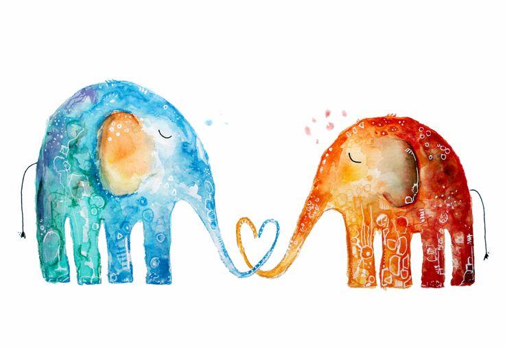 #Elefanten Liebe: Stark, stabil, für immer! <3 #Kunst von Clarissa Hagenmeyer - www.clarissa-hagenmeyer.de