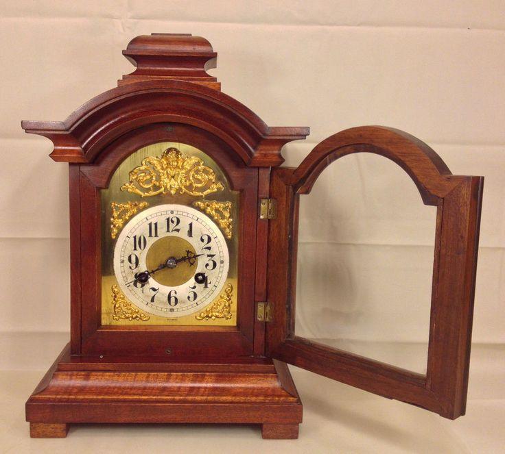 Antique Junghans Mantel Clock A10 160 Movement Great Wood