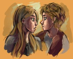 Puck and Sabrina, from the Sisters Grimm series, written by Michael Buckley.