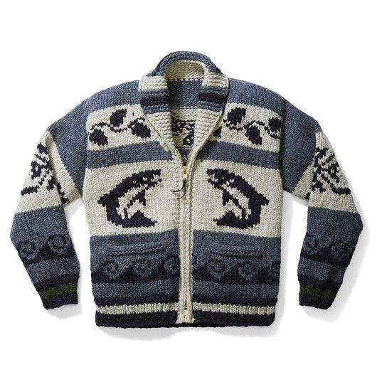 Men's Cowichan Sweater - Salmon (BC made by Cowichan tribe, so it's not from the USA)