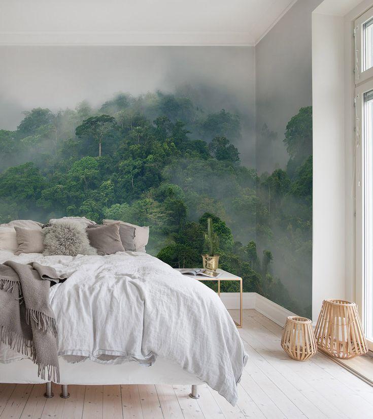 Misty Forest In 2020 Wallpaper Living Room Simple Bedroom