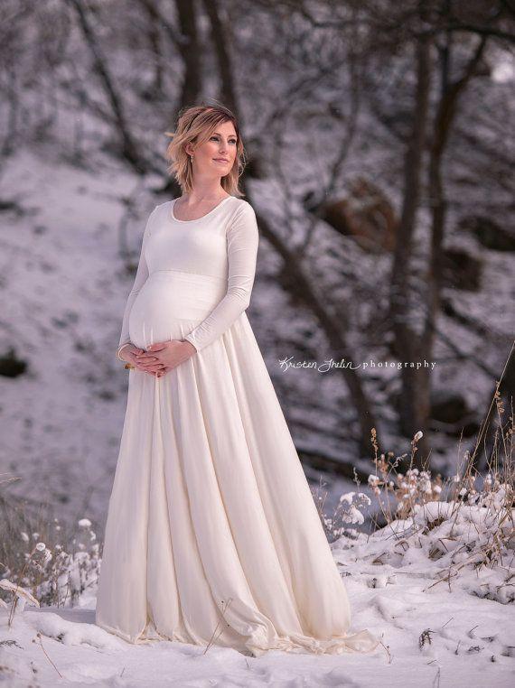 Plus Size Maternity Maxi Dress Sleeved Photo Dress by shopkobieta