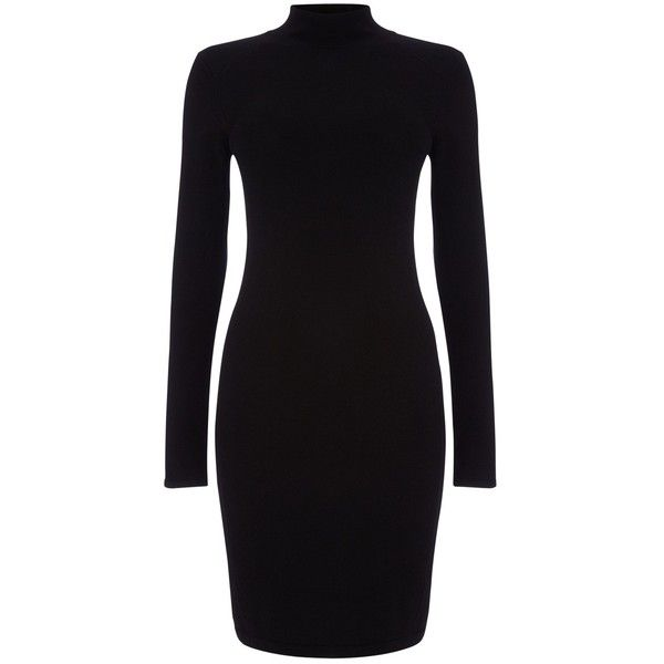 Phase Eight Rita Turtle Neck Dress, Black (£59) ❤ liked on Polyvore featuring dresses, vestidos, long sleeve midi dress, long-sleeve maxi dress, long-sleeve mini dress, turtleneck maxi dress and turtleneck dress