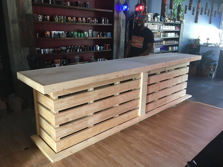 Etsy The Whoadie- Pallet style rustic dry bar reception desk or sales counter unfinished #ad #pallet #palletfurniture #bar #furniture #homemade