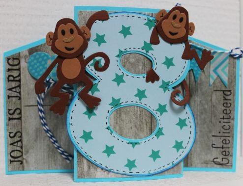 Gemaakt door Joke # Kinderkaart met aapjes, Joas 8 jaar