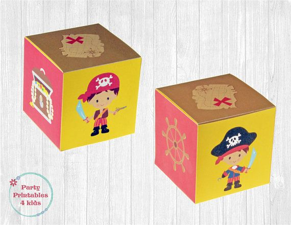 Pirate Favor Box Treat Box DIY Gift Box Cube Printable