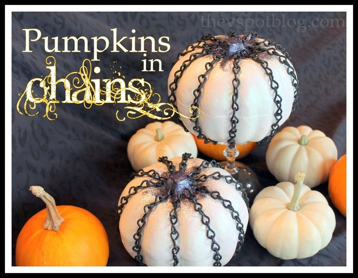 easy chain covered pumpkins for halloween - Halloween Diy Crafts