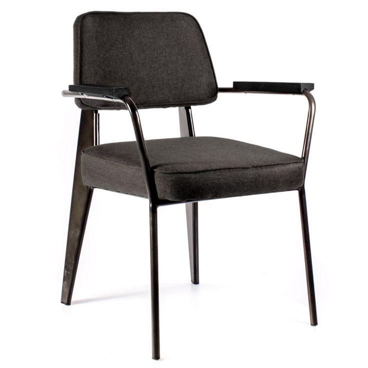 Дизайнерский Кресло Вена сталь + сиденье серая ткань от Deephouse!