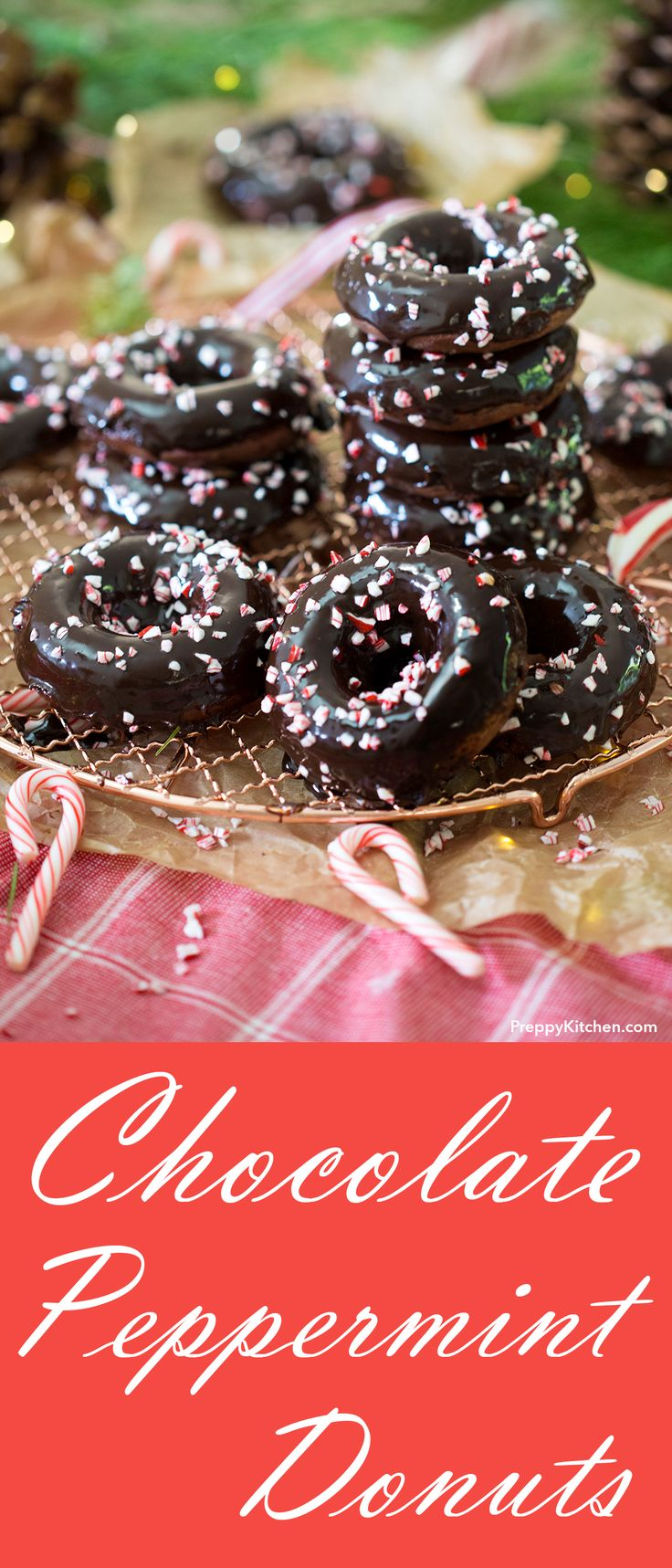 Baked Chocolate Peppermint Donuts - These donuts are moist and rich chocolate with a kiss of mint and covered in the most decadent ganache | Baked Donut Recipes, Holiday desserts #holiday #desserts #easybaking #peppermint #donuts How to make donuts at home.
