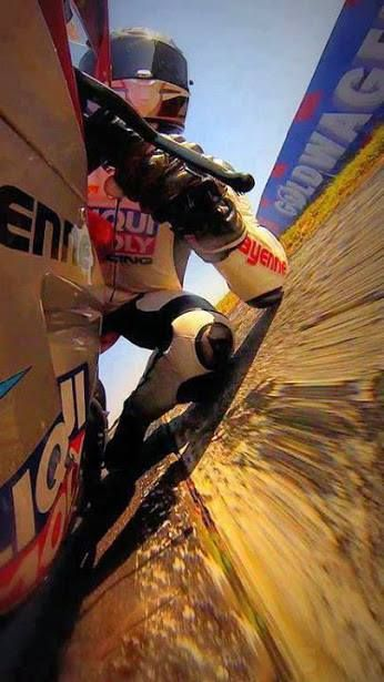 Moto GP bikes are so competitive today that riders have to risk everything to stay in front. Look at this rider's elbow.