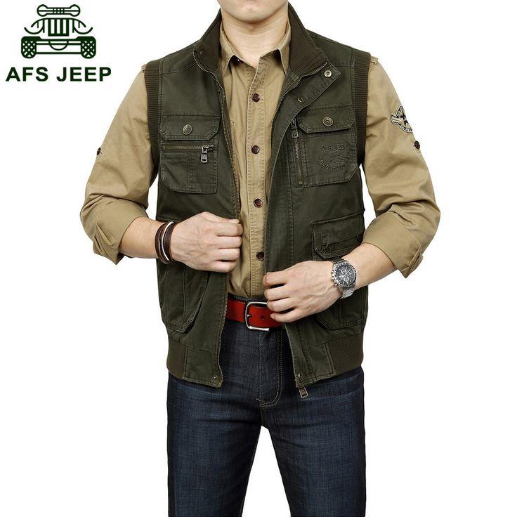 AFS JEEP 2016 Primavera 100% algodão puro dos homens jaquetas de acampamento ao ar livre esportes coletes casacos…