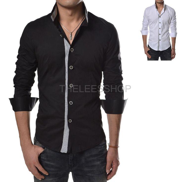 Details About Mens Mandarin Dress Shirts 100 Cotton