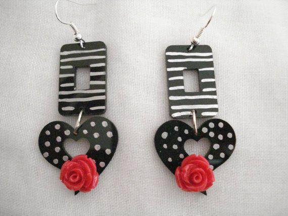 Flower earrings Black heart flower dangles Stripes and by Poppyg