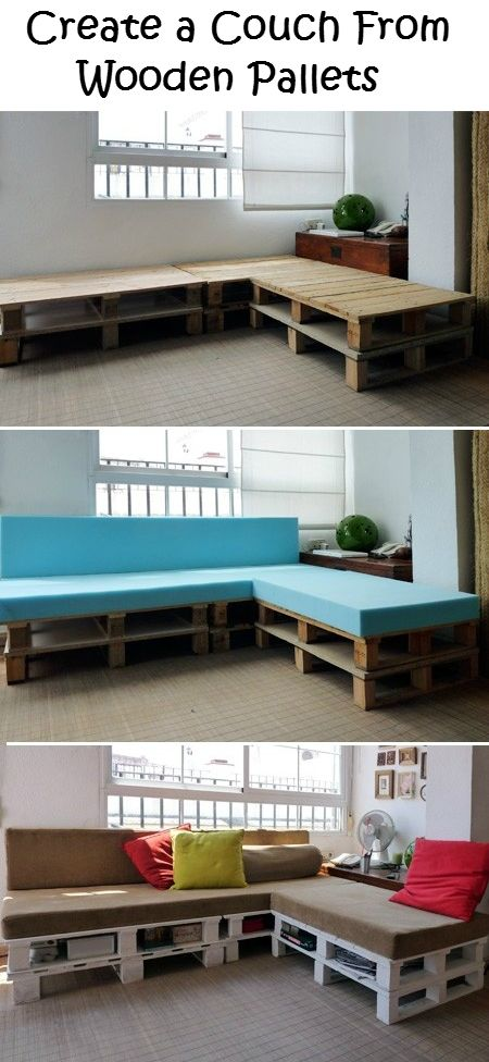 Create a Couch From Wooden Pallets - DIY Ideas 4 Home